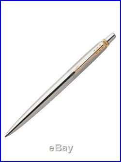 150 x Parker Jotter SS Steel GT Gold Trim Ball Point Pen, Fine Nib, Blue Ink New
