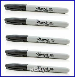 5 X Sharpie Black Ink FINE Point Bullet Tip Permanent Marker Pens Genuine UK