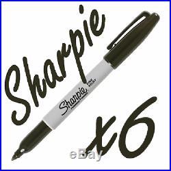 6 Sharpie Black Fine Point Waterproof Permanent Marker Pens Permenent