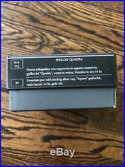Aurora Ipsilon Quadra Fountain Pen Black With Sterling Silver Cap Fine Point