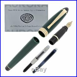 Aurora Ipsilon Resin Fountain Pen Green Extra Fine Point NEW B11V-EF