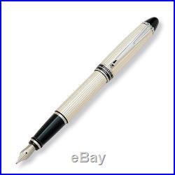 Aurora Ipsilon Silver Fountain Pen Sterling Silver Fine Point New in Box B14