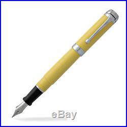 Aurora Talentum Fountain Pen Yellow With Chrome Trim Fine Point New D11Y