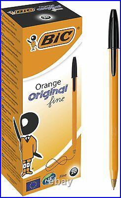 BIC Orange Original Fine Ballpoint Pens Point (0.8 mm) Box x 20, Black