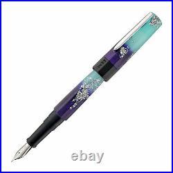 Benu Euphoria Fountain Pen in Ocean Breeze (Blue Glow) Fine Point -NEW in Box