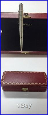 CARTIER BALL POINT PEN 2C Logo Authentic carved seal Silver With Box fine jmp