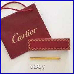 CARTIER BALL POINT PEN Trinity Antique Authentic carved seal Gold Box fine jmp