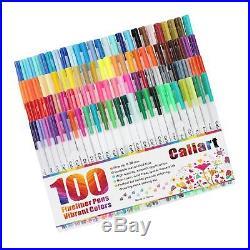 Caliart Fineliner Pens 100 Colors Fine line Drawing Pen Set 0.38mm Fine Point