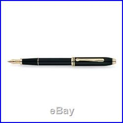 Cross Townsend Black Lacquer/23 Karat Gold Plated Fountain Pen Fine Point