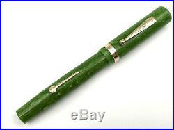 FINE VINTAGE c1928 DIAMOND POINT JADE GREEN OVERSIZE FOUNTAIN PEN 14K SUPER FLEX