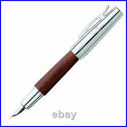 Faber-Castell E-Motion Fountain Pen in Wood & Chrome Brown Extra Fine Point