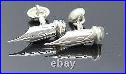 Hallmarked England Jam Vintage Pen Point Solid Sterling Silver Unisex Cufflinks