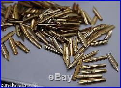 LOT Of 25 TAPPED Fine Point MIX GOLDEN FOUTAIN PEN Nibs