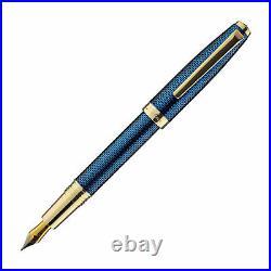 Laban 986 Guilloche Fountain Pen in Sapphire Blue Fine Point NEW in Box