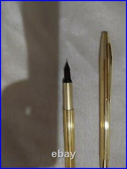 MONTBLANC Noblesse Gold Plated Fountain Pen & Ball Point Pen with585 Fine Nib /Box