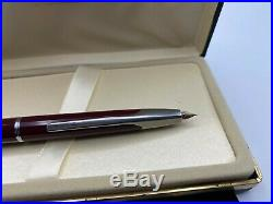 Namiki Vanishing Point Fountain Pen BURGUNDY FACETED 14K fine Nib Mint Boxed
