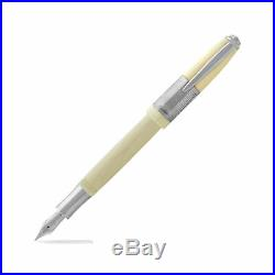 New Laban Genghis Khan Fountain Pen Antique White With Silver Trim -Fine Point