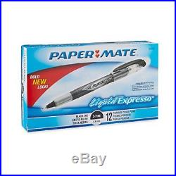 New Papermate Liquid Flair Porous Point Stick Pens Black Ink Extra Fine Dozen Dz