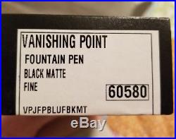 PILOT NAMIKI VANISHING POINT BLACK MATTE STEALTH FOUNTAIN PEN 60580 Fine