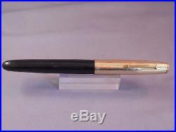 Parker 51 Black Gold Cap Fountain Pen works-fine point