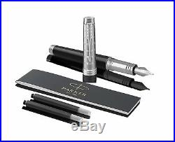 Parker Premier Lacquered Black Custom Tartan Fountain Pen, Fine Point 1931417