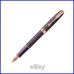 Parker Sonnet Prestige Fountain Pen in Silver & Purple 18K Gold Fine Point NEW