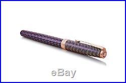 Parker Sonnet Prestige Silver & Purple Fountain Pen w Pink Gold Trim Fine Point