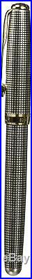 Parker Sonnet Sterling Ciselé Fine Point Fountain Pen with Golden Trim, Silver