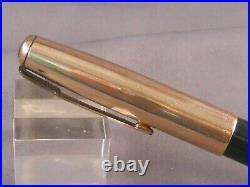 Parker Vintage 51 Dark Green Gold Cap Fountain Pen works- fine point