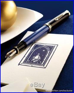 Pelikan Souveran M400 Fountain Pen Black & Blue Gold Trim Extra Fine Point