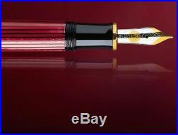 Pelikan Souveran M600 Fountain Pen Black & Red Gold Trim Fine Point 928655
