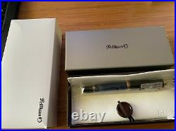 Pelikan Souveran M800 Fountain Pen Black & Blue Gold Trim Fine Point