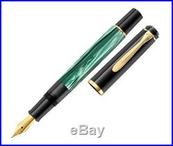 Pelikan Tradition Series M200 Fountain Pen Green Marbled Fine Point 994012 New