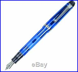 Pilot Custom 74 Fountain Pen in Blue with Silver Trim 14K Gold Fine Point NEW