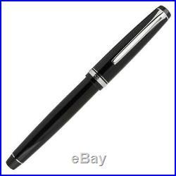 Pilot Falcon Fountain Pen in Black & Rhodium Soft Flexible Fine Point NEW