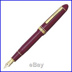 Platinum President Fountain Pen, Wine Red & Gold, 18K Gold Fine Point Nib, New