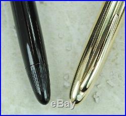 Restored Sheaffer EXCELLENT Black Snorkel Crest, Gold-Filled Cap, Fine Point