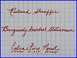 Restored Sheaffer EXCELLENT Burgundy 1ST YEAR Snorkel Statesman Extra Fine Point