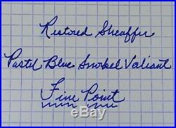 Restored Sheaffer EXCELLENT Pastel Blue Snorkel Valiant, Fine Point