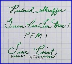 Restored Sheaffer Excellent Green Pen For Men I (PFM I) Pen & Pencil, Fine Point