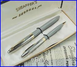Restored Sheaffer NEAR MINT Pastel Gray Snorkel Clipper Fine Point Pen & Pencil