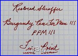 Restored Sheaffer VERY GOOD Burgundy Pen For Men III (PFM III), Fine Point