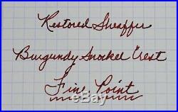 Restored Sheaffer VERY GOOD Burgundy Snorkel Crest Fine Point