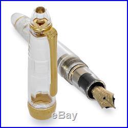 Sailor 1911 Large Fountain Pen Transparent Gold Trim 21K Gold Fine Point NEW