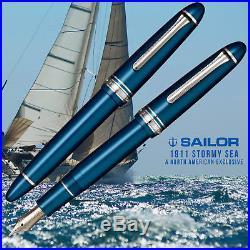 Sailor 1911 Standard Fountain Pen Stormy Sea Rhodium Trim 14kt Fine Point Nib