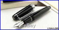 Sailor Professional Gear Black ST 21K Gold Rhodium Plate Fine Point Fountain Pen
