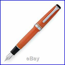 Sailor Professional Gear Fountain Pen Orange Silver Trim 21K Gold Fine Point