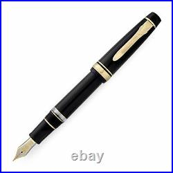 Sailor Professional Gear II Realo Black with Gold Trim Fine Point Fountain Pen