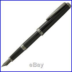 Sailor Reglus Fountain Pen in Black & Rhodium Plated Fine Point NEW in box