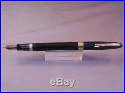 Sheaffer Black Snorkel Fountain Pen-Palladium Silver- fine point-restored